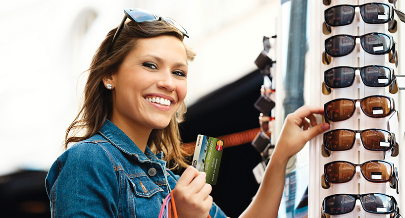Photo of happy woman shopping.