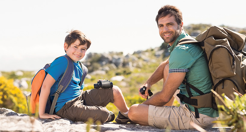 Photo of father and son on a hiking trip.