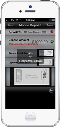 Photo of iPhone with Mission Fed app open to Mobile Deposit screen that is uploading check image