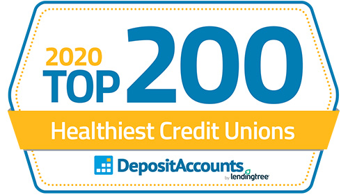 2020 Top 200 Healthiest Credit Unions recognition.