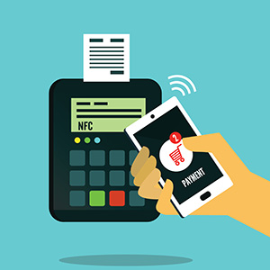 Illustration of a person using their digital wallet to make a payment with their phone.