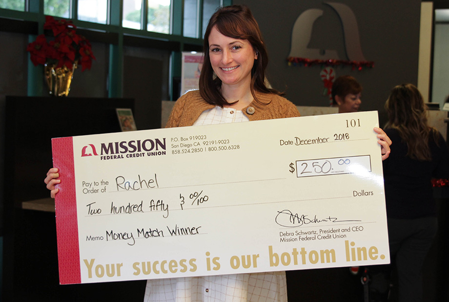 Rachel with giant check