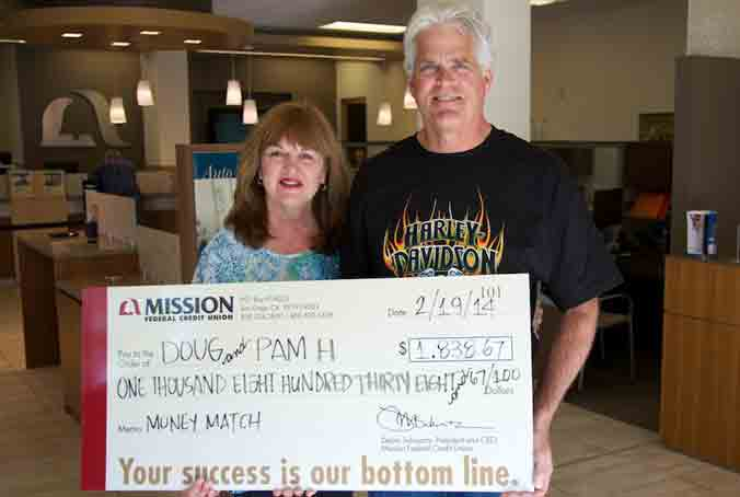 Pam and Doug H. won their Home Loan payment match in January. They plan to make a donation to Rady Children's Hospital in their granddaughter's name and upgrade their motorcycle.