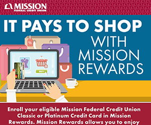 It Pays to Shop with Mission Rewards infographic.