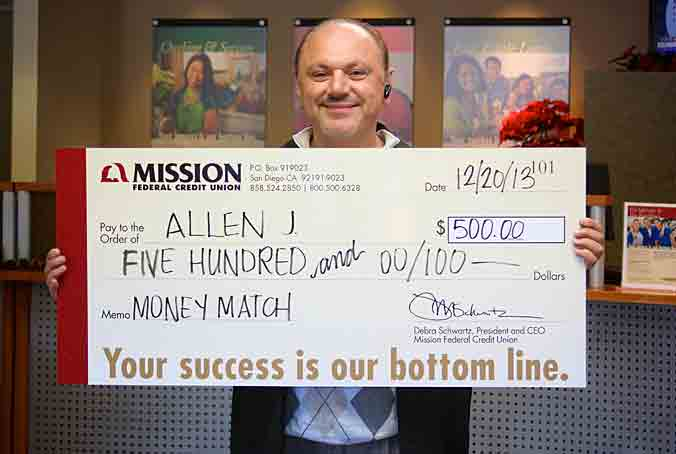 Allen J., one of our November Auto Loan Payment match winners.