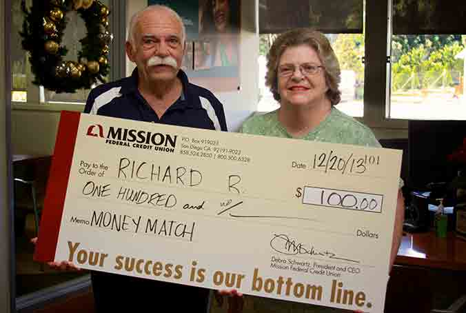 Richard R. (pictured with Dorothy R.) was one of our November Debit Card Purchase match winners.