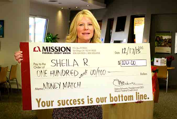 Sheila R., one of our November Debit Card Purchase match winners.