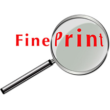 photo of a magnifying glass over the words 'fine print'