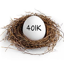 Photo of a egg with '401K' written on it in a nest.