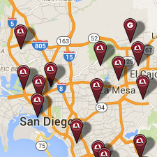 image of pins showing Mission Fed locations on a map of San Diego