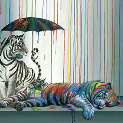 Artwork of tigers with an umbrella in raining paint from Mission Federal ArtWalk