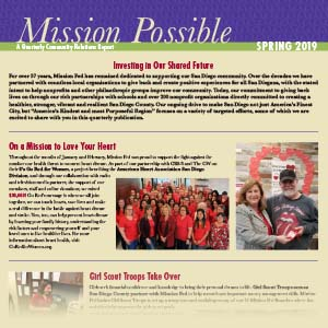 Photo of the Mission Possible Spring 2019 newsletter.