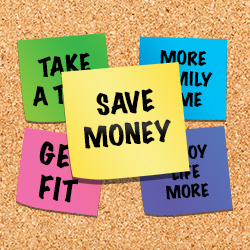 Photo of saving money tips written on post-it notes on a cork board.
