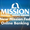 image depicting a beach with the text 'new mission fed online banking' overlaid