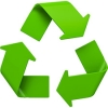 image of recycling logo - three green chasing arrows in a triangle shape